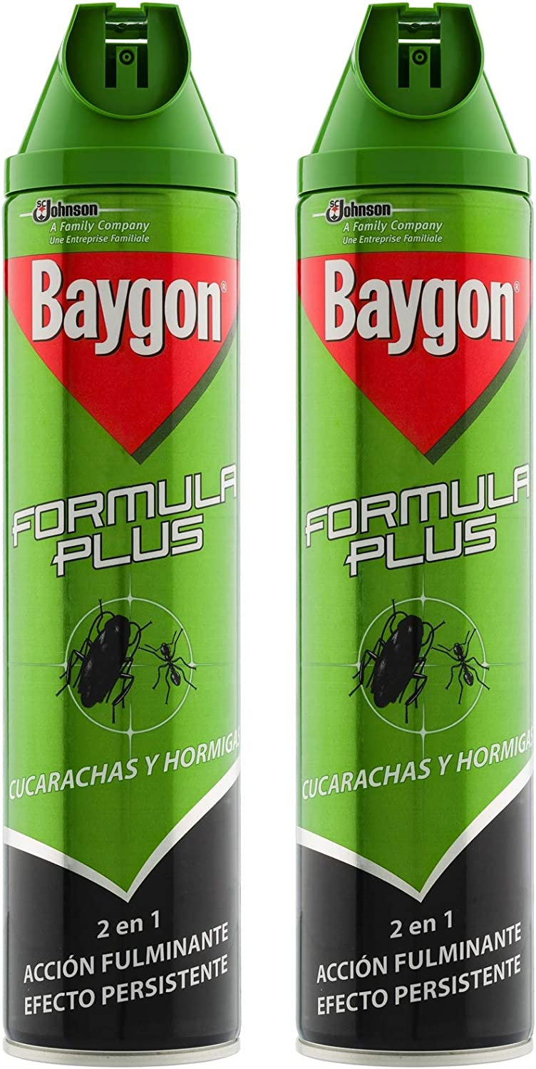 Baygon - Formula Plus Cucarachas y Hormigas, Verde, 600 ml - Pack de 2 (Total 1200 ml)