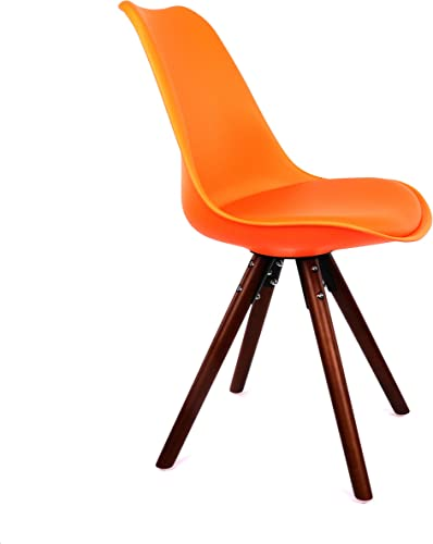 Design Lab MN Dining Side Chair, Set of 2, Orange Seat