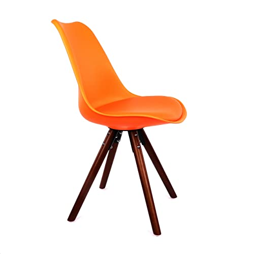 Design Lab MN Dining Side Chair, Set of 2, Orange Seat