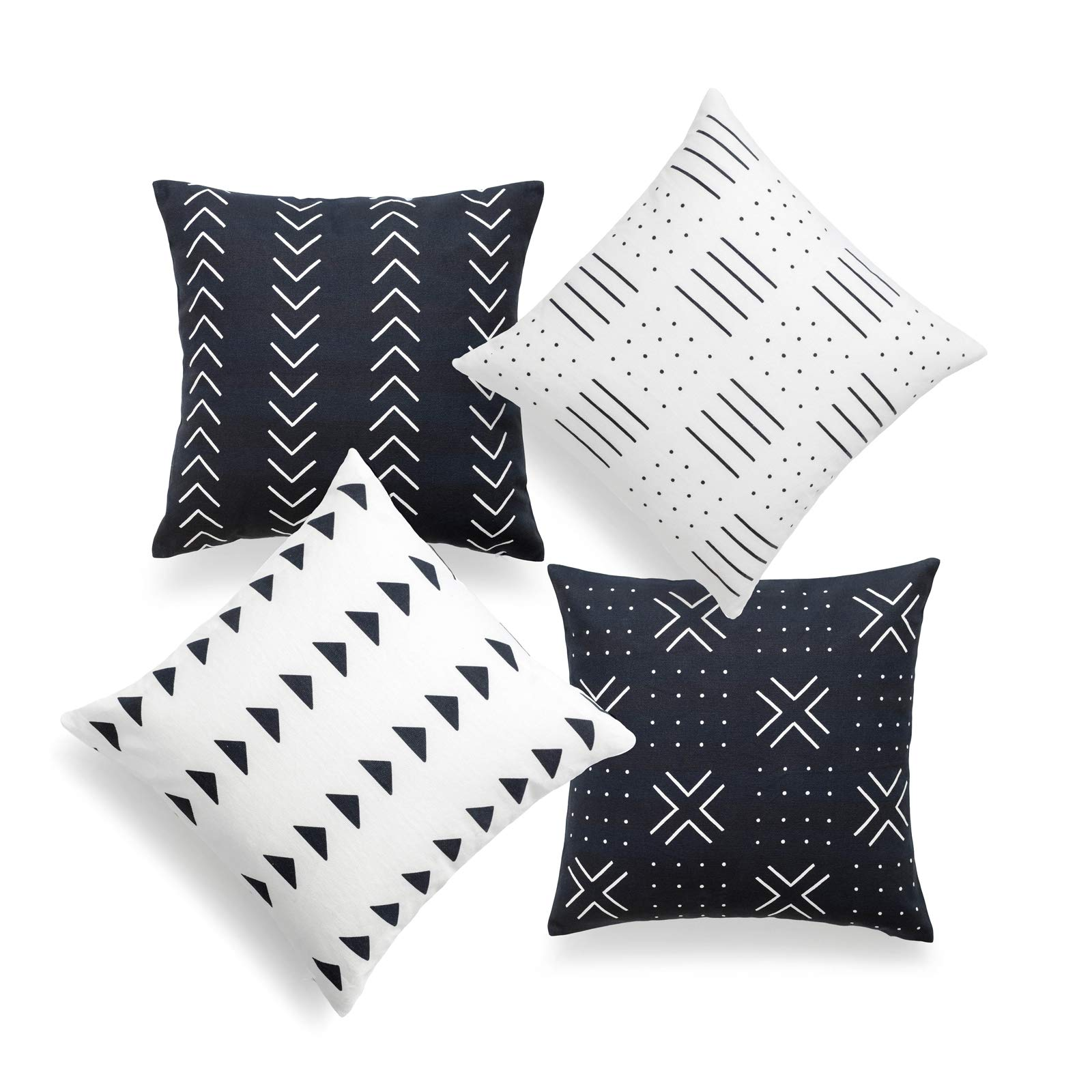 Hofdeco African Mudcloth Pillow Cover ONLY, Black and White, 18''x18'', Set of 4