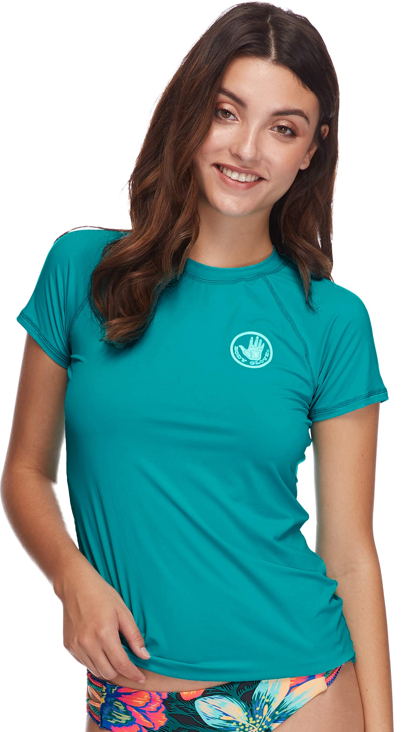 Body Glove Women's Smoothies in-Motion Solid Short Sleeve Rashguard with UPF 50 Peacock I, Small by Body Glove