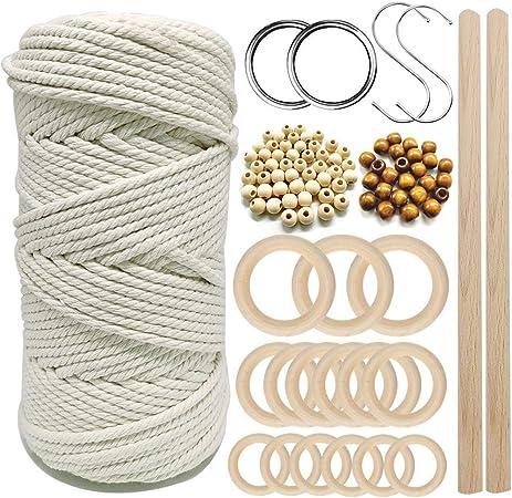 manualidades Macram/é colgador de macram/é de cord/ón 100M cuerda de macram/é natural de 3 mm con 6 piezas de anillo de madera y 4 piezas de madera para bricolaje colgadores de plantas tejer