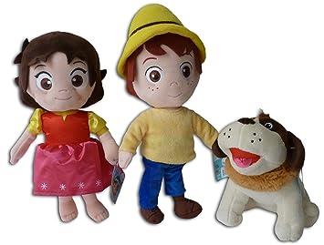 Heidi, Pedro y Niebla Pack 3x Peluches 30cm La niña de los Alpes Cabrero Perro