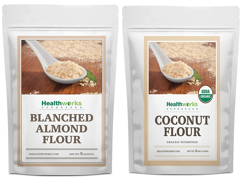 Healthworks Blanched Almond Flour (32 Ounces / 2 Pounds) and Coconut Flour Unrefined Raw Organic (64 Ounces / 4 Pounds) - Baking Mix Bundle