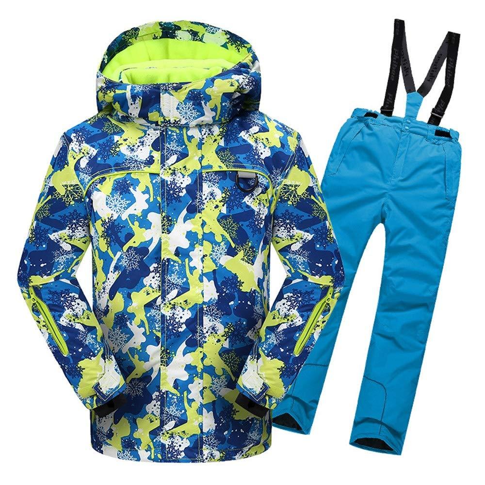 スキーウェア 男の子女の子暖かい防風防水スノーシューツフード付きスキージャケットパンツ2個セット 耐性ジャケット (色 : 青, サイズ : 158/164) 青 158/164