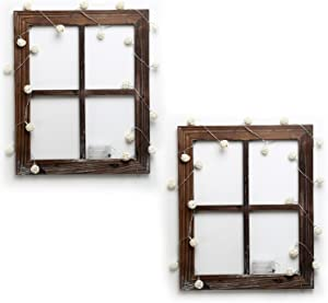 Cade Rustic Wall Decor-Home Decor Window Barnwood Frames -Room Dcor for Home or Outdoor, Not for Pictures(2, 18.1X22.1-with 2 Pack Lights)