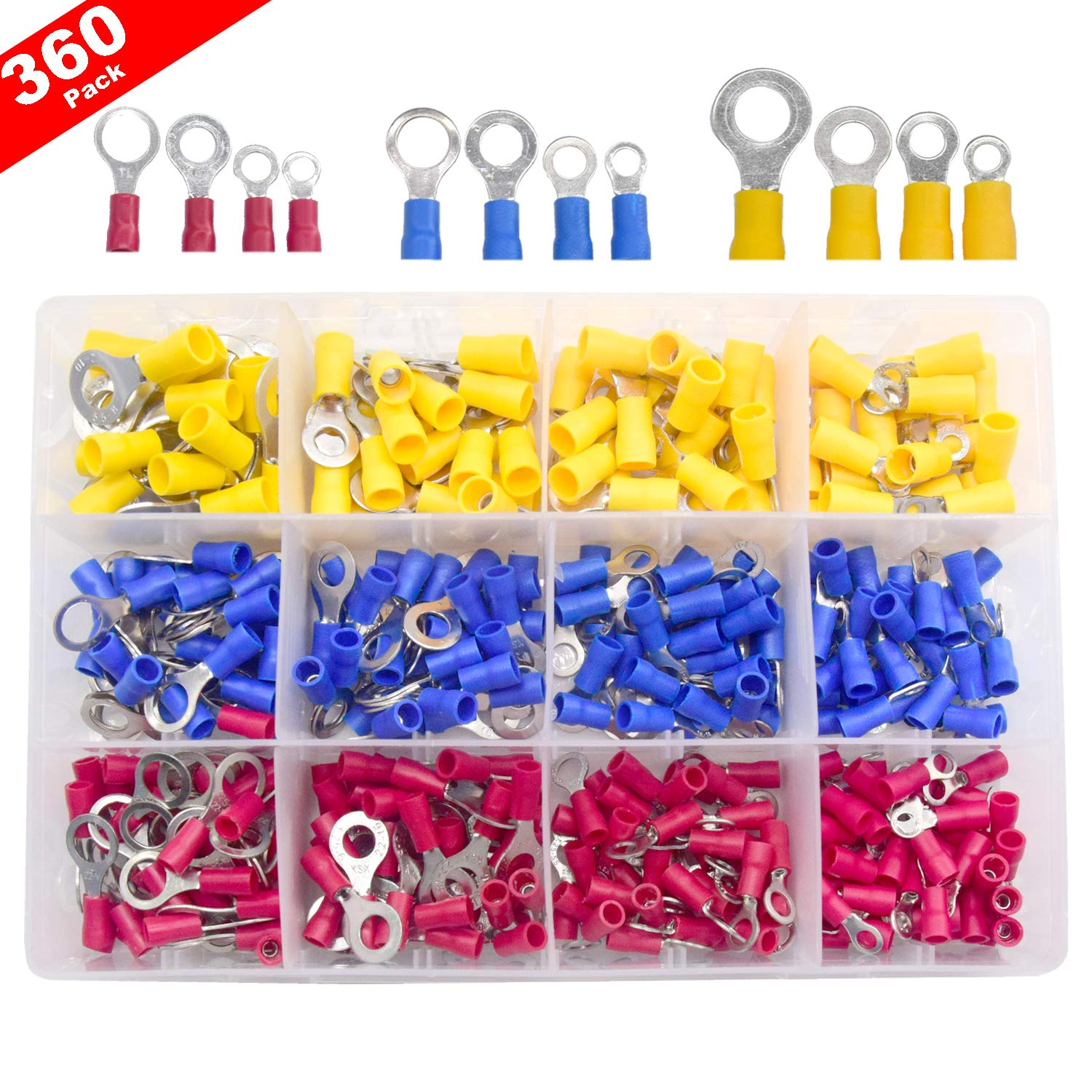 Yosawo 360-Pieces Insulated Ring Crimp Wire Connectors Terminals Kit (PVCR
