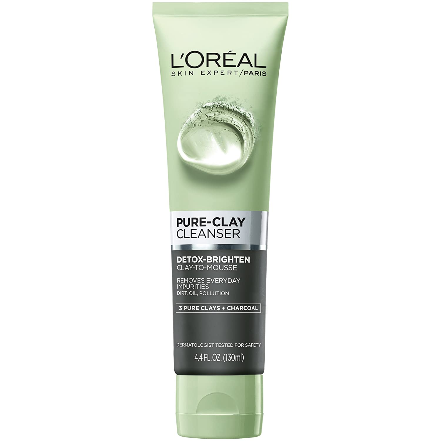 L'Oreal Paris Pure-Clay Daily Cleanser with 3 Mineral Clays + Charcoal, Energizes and Brightens Dull Skin, 140 ml L' Oreal Paris