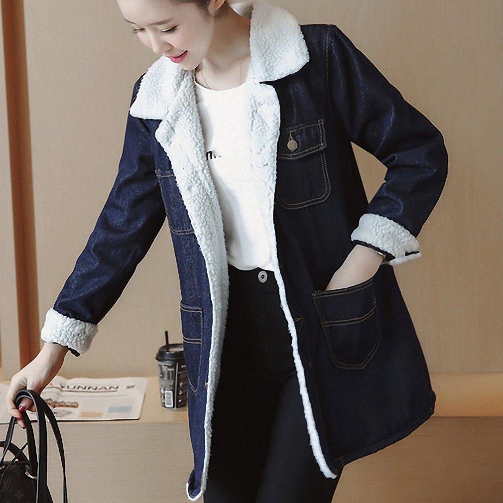 Huiwa Womens Denim Jacket Long Sleeve Slim Jeans Coat Warm Long Parkas Plus Size at Amazon Womens Coats Shop