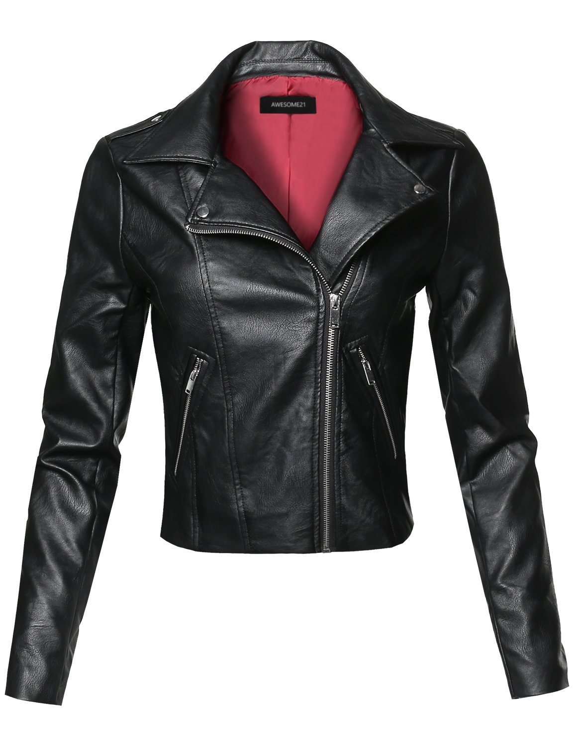 Casual Asymmetrical Zipper Floral Embroidered Moto Leather Jacket Black Size L