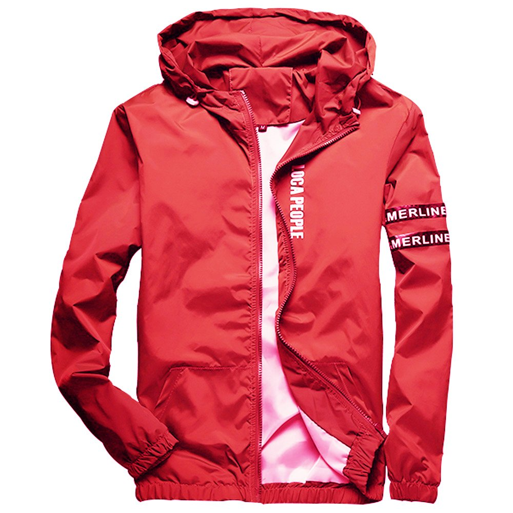 Homaok Men's Lightweight Breathable Jacket Small Red