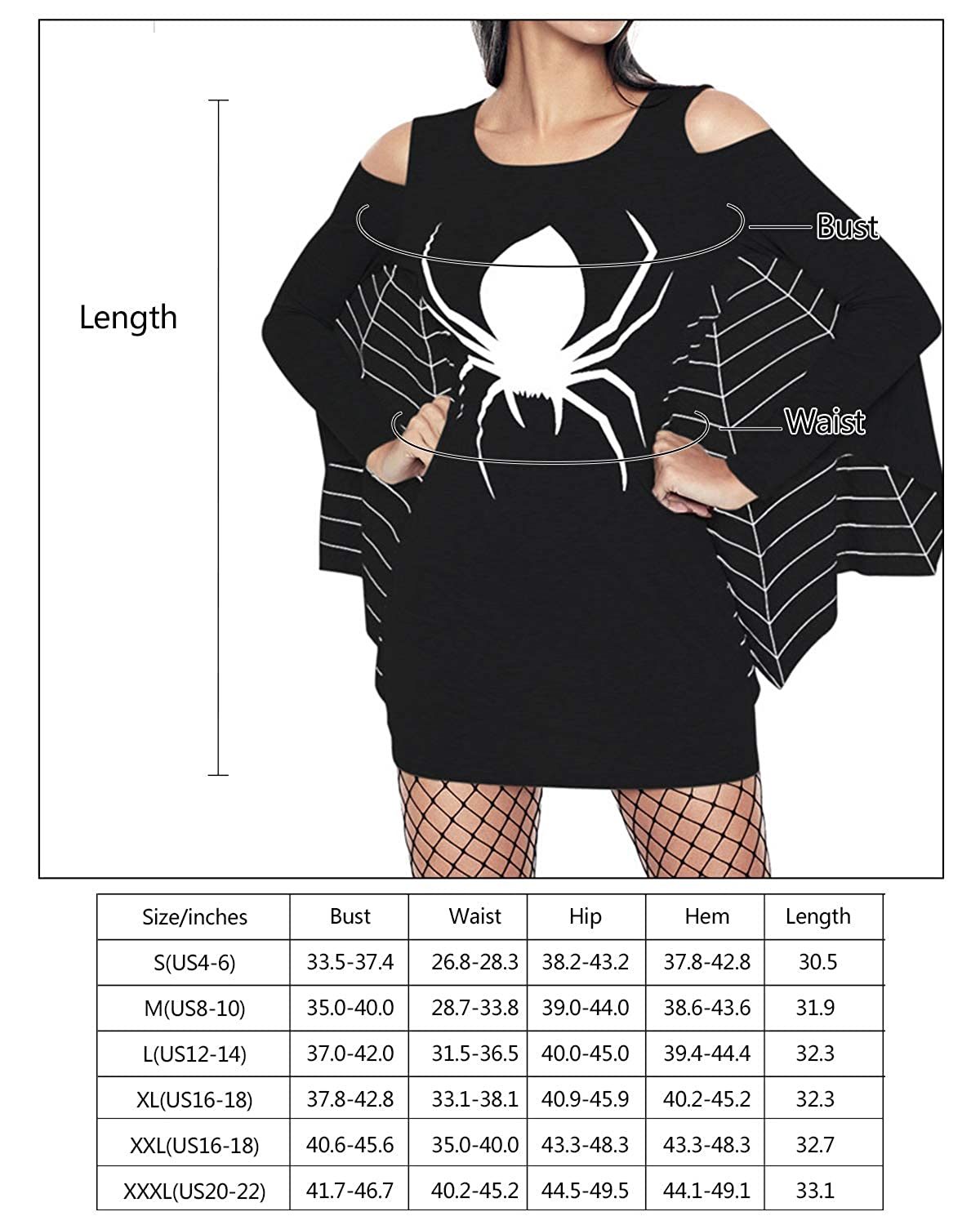 0ac9308e96f3 Amazon.com: Hyling Women's Halloween Spiderweb Plus Size Jersey Long Sleeve  Bodycon Dress with Batwing Pullover Cosplay Costume: Clothing