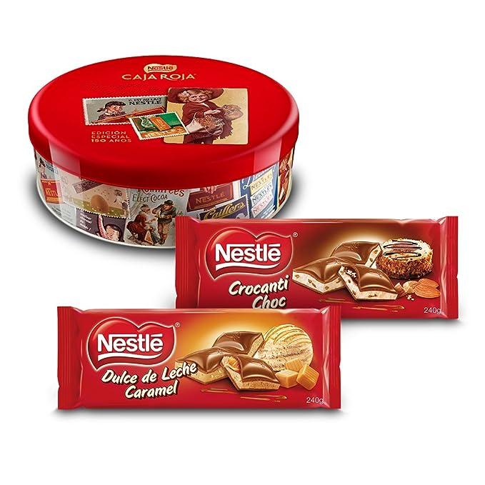 Nestlé Caja Roja (250 g) + Nestlé Chocolate Relleno Dulce de Leche ...