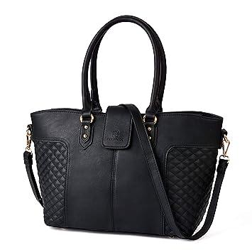 e14631a775f6bc Handtasche Damen, Fanspack Elegante Damenhandtasche Große Schultertasche  Frauen Umhängetasche Schwarz