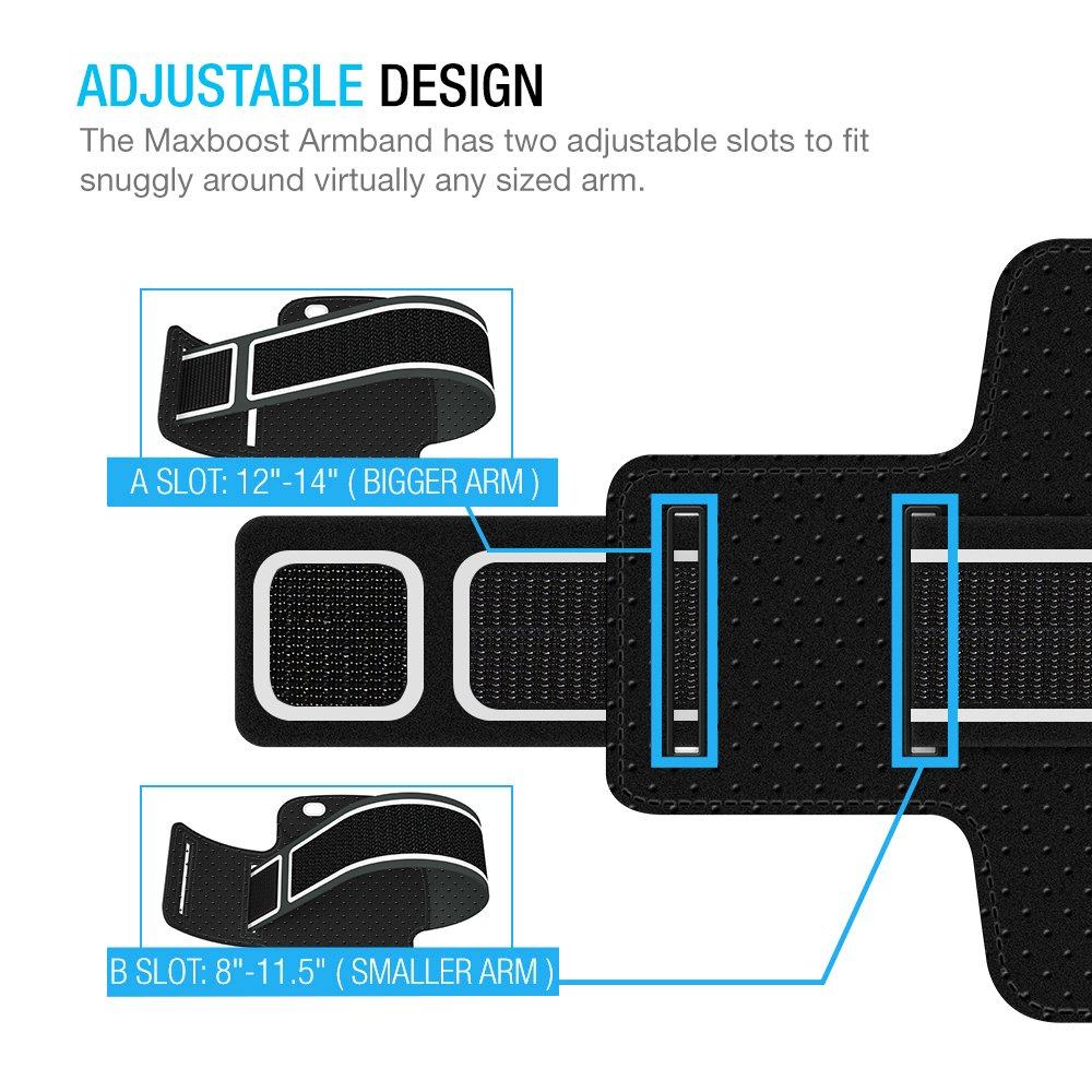 Maxboost Armband [Original+] For Large Phone iPhone 8 Plus, 7 6 6S Plus, X, Galaxy S9 S8 Plus, Note 8 5 2 (Fits Otterbox Defender Lifeproof case) [Water Resistant] Universal Running Pouch Key Holder by Maxboost (Image #4)