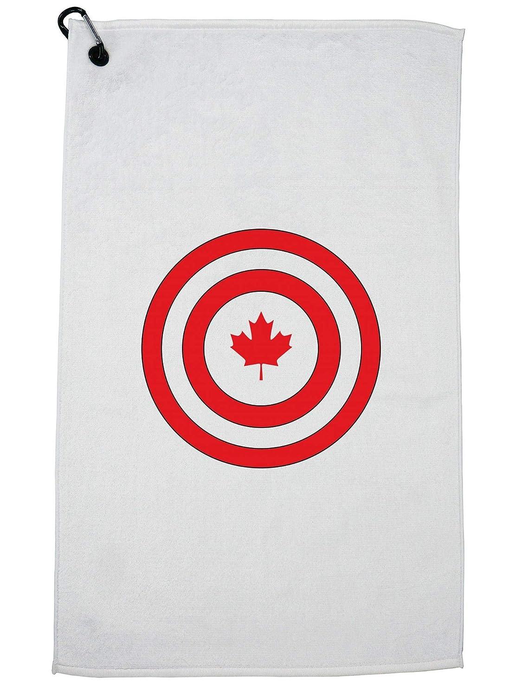 Hollywood Thread Cool Geeky キャプテンカナダ シールド キャプテンインアメリカ ゴルフタオル カラビナクリップ付き   B07GJTSDKM