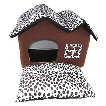 Basico Cama para Perros Habitación Doble Techos Casa para Mascotas Marrón Perro Suave Casa para Mascotas