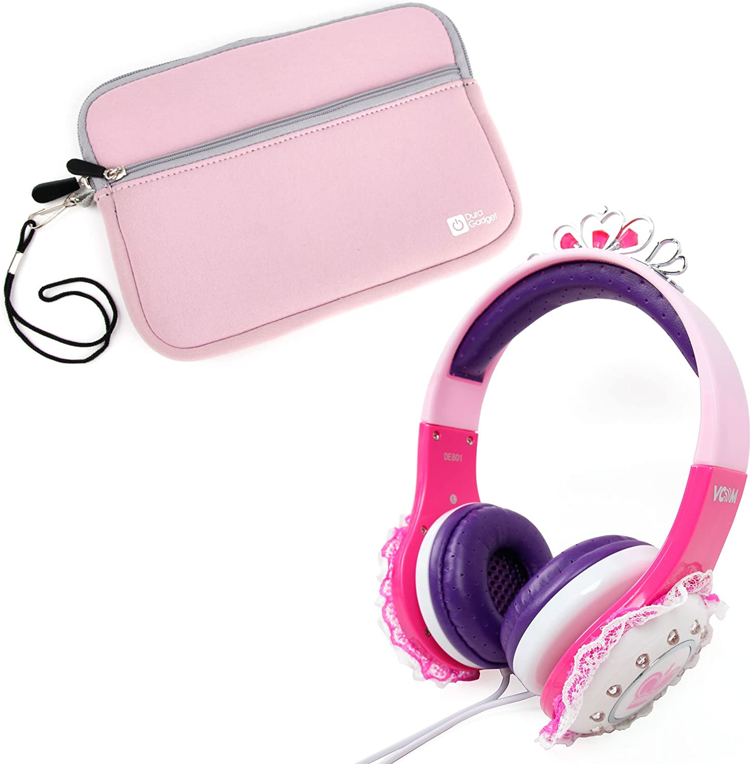 DURAGADGET Children's Pink & Purple 'Princess' Headphones - Compatible with Acer Iconia One 7 B1-730 & Iconia Talk S A1-724 + Pink Neoprene Soft Case