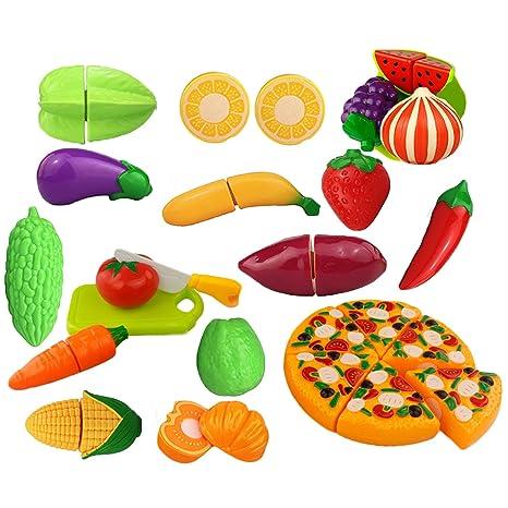 24 PCS Divertidos Niños Cocina Corte Juguetes Conjunto Incluyendo Pizza  Frutas Cuchillos Vegetales Para Cortar Niños