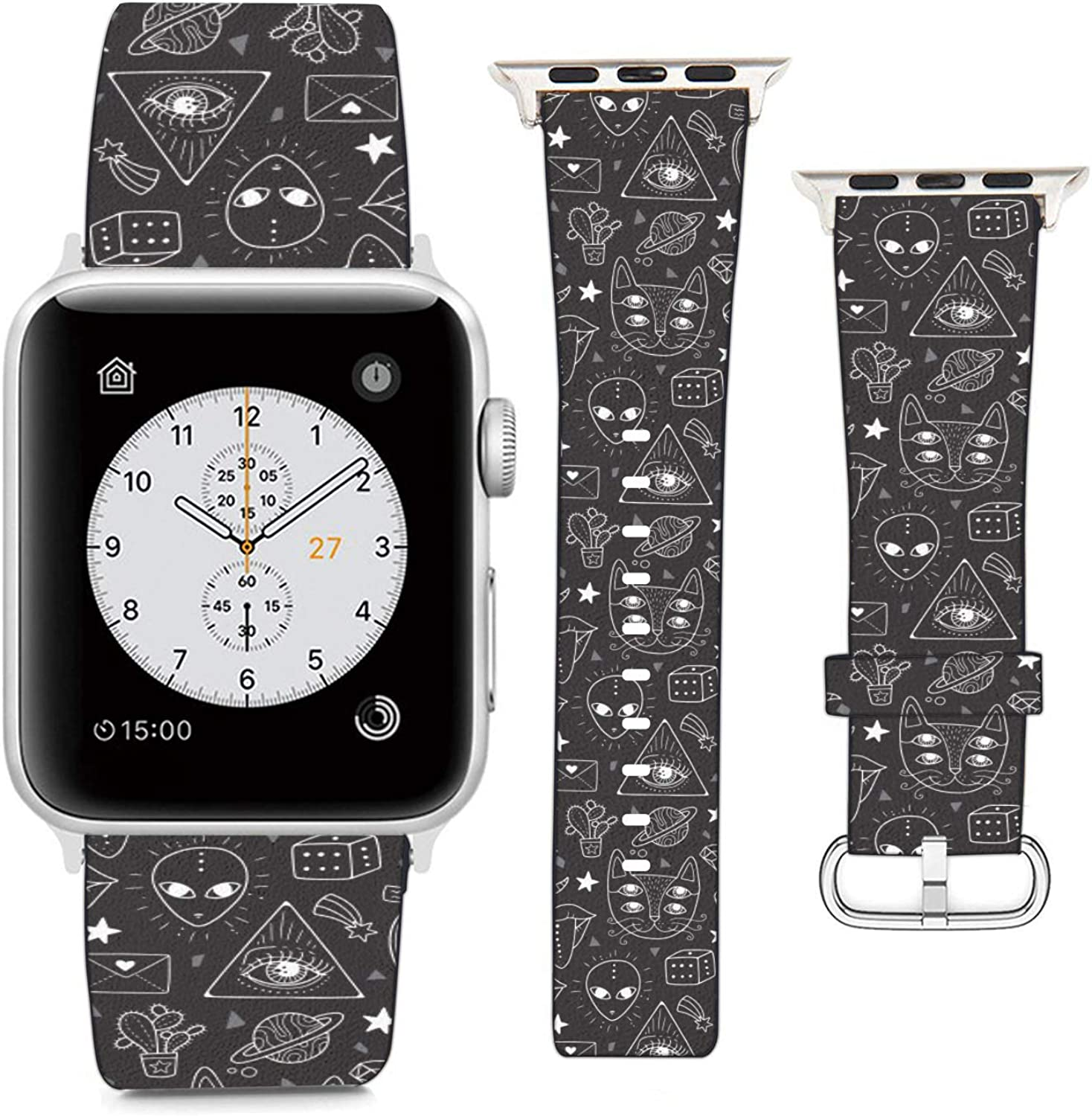 Compatible with Apple Watch Wristband 38mm 40mm, (Alien Freaky Alchemy Symbols) PU Leather Band Replacement Strap for iWatch Series 5 4 3 2 1