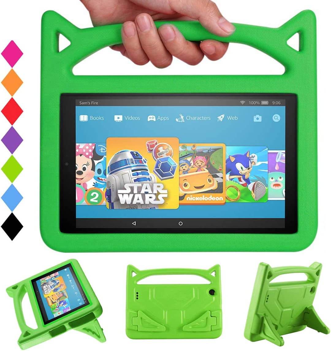 "All-New Fire HD 10 2017 Tablet Case -Riaour Shock Proof Light Weight Convertible Handle Stand Kids Friendly Cover for Fire HD 10.1"" Tablet(Compatible with 2015&2017 Released)(Green)"
