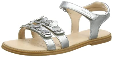 Geox Karly I, Sandales Bout Ouvert Fille, Argent (Silver), 33 EU