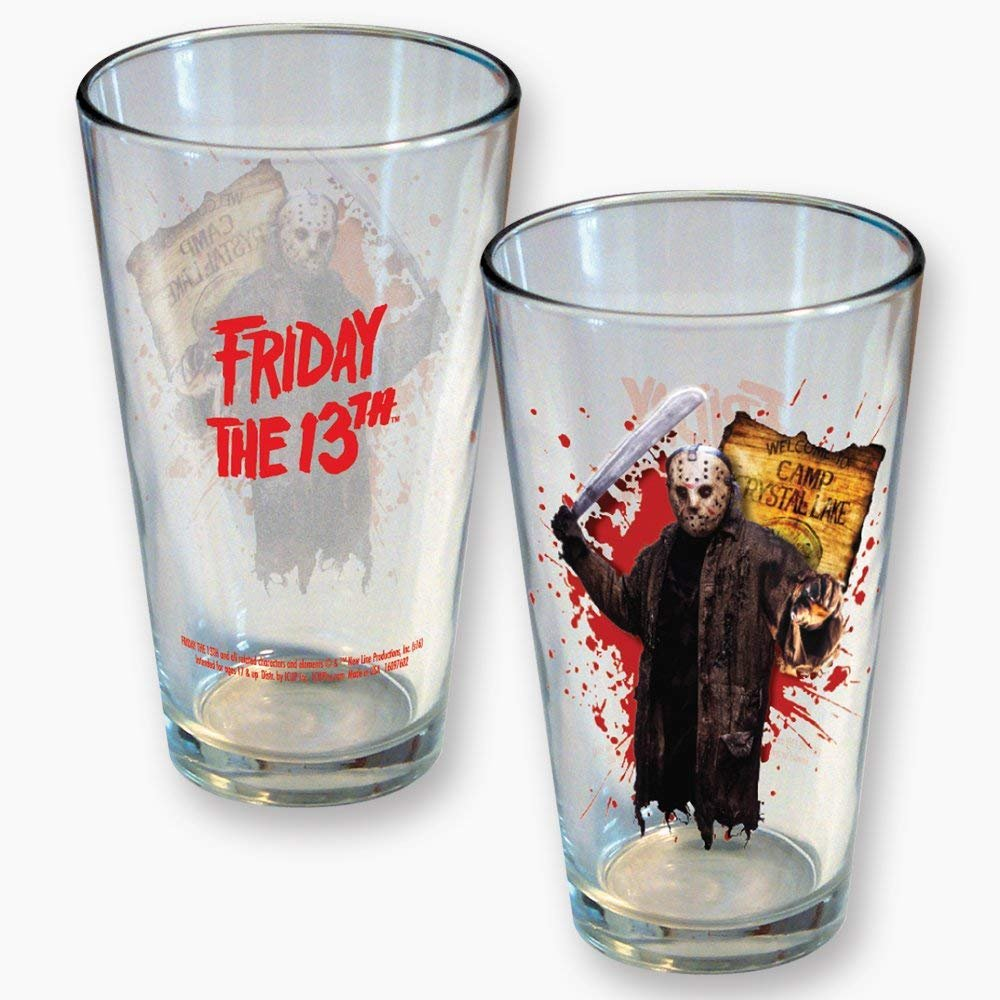 ICUP 8362 Friday The 13th Jason Camp Crystal Lake Pint Glass, Multicolor