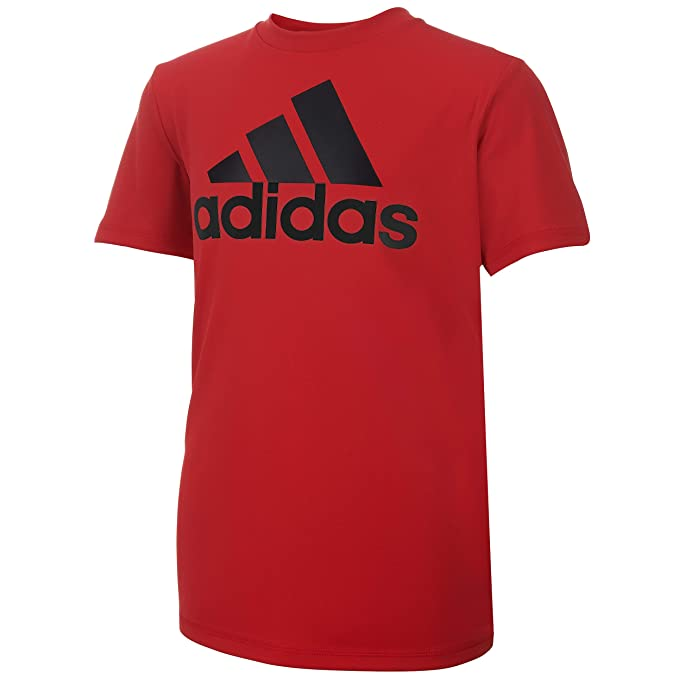 adidas Boys' Big Stay Dry Climalite Short Sleeve T-Shirt, Scarlet, L (14/16)