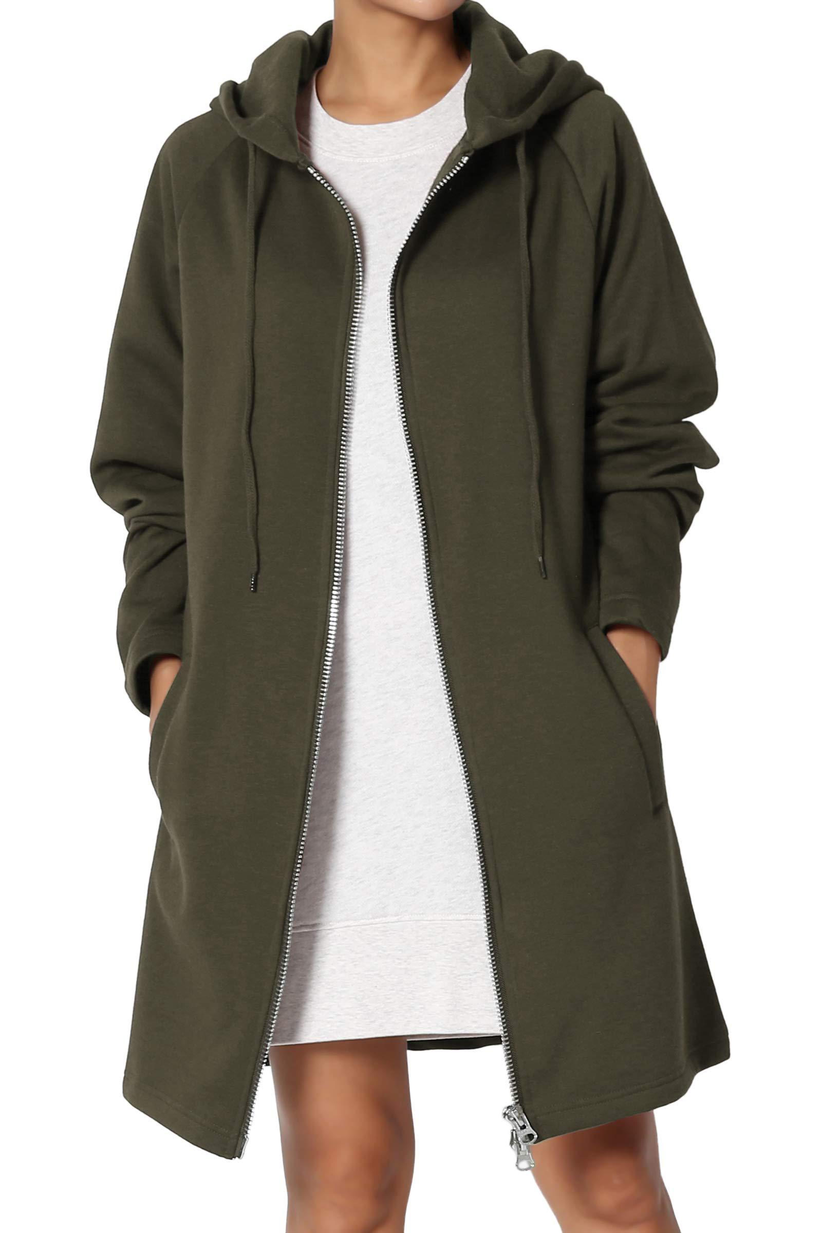 TheMogan Women's Hoodie Oversized Zip Up Long Fleece Sweat Jacket Olive 3XL