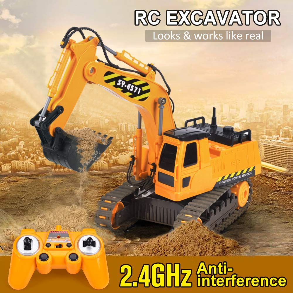 DOUBLE  E Remote Control Truck RC Excavator Toy with Rechargeable Battery Lights and Sounds 2.4GHz Construction Vehicles Tractor 1/26 by DOUBLE  E (Image #2)