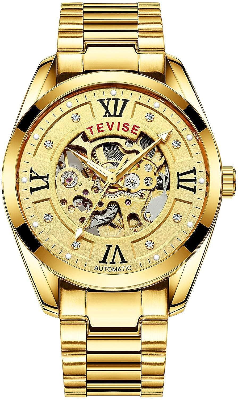 Luxury Automatic Machinery Skeleton Mens Watches Fashion Business Gold Watch Men Sport Waterproof Watch