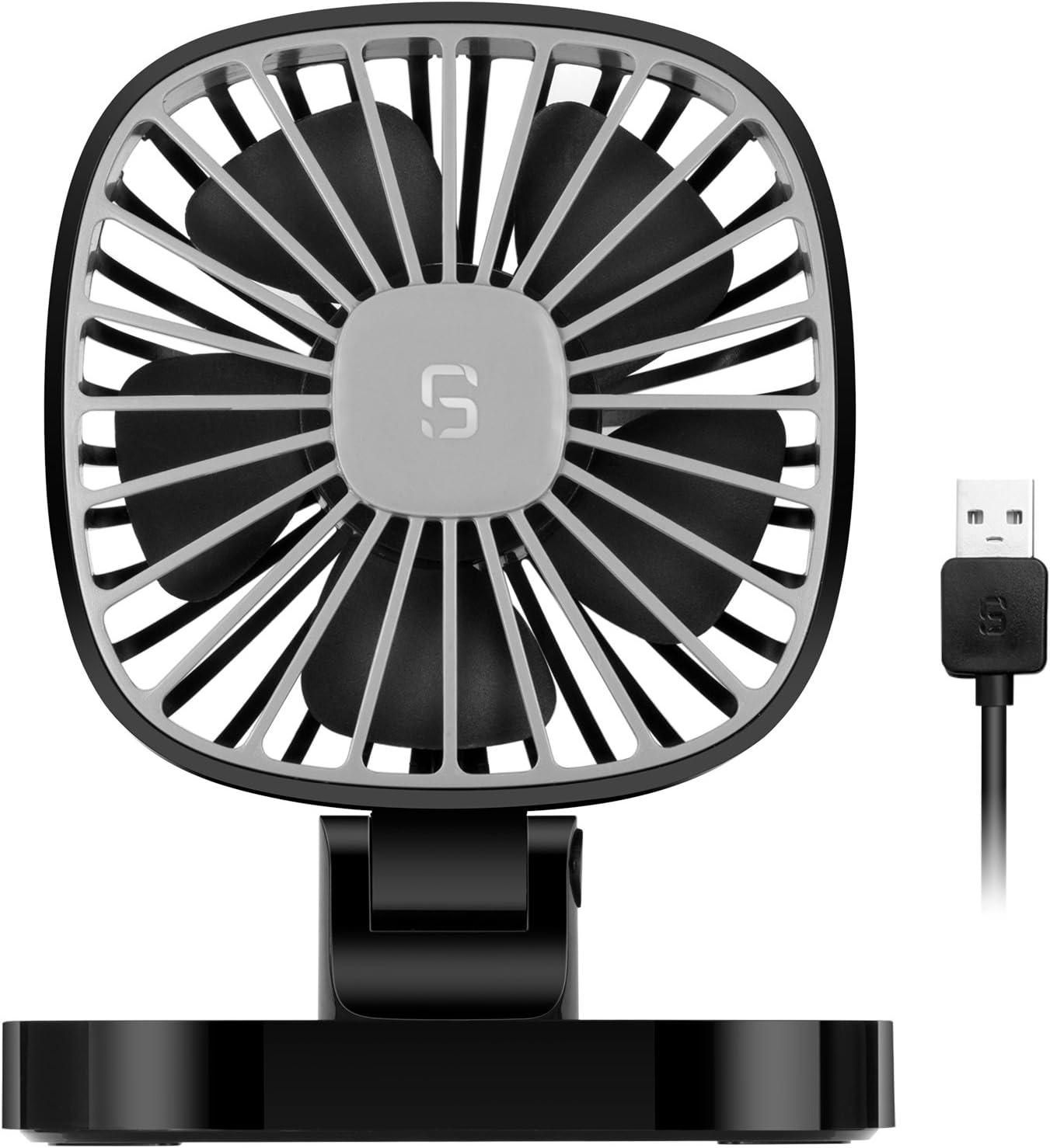 COMLIFE Ventilador de Coche de USB Giratorio de 360 Grados 4 Pulgadas con 3 Velocidades Silencioso y Potente Circulador de Aire para Todo Tipo de Coche(1 pack)