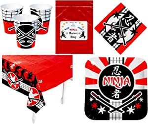 Multiple Ninja Warrior Party Supplies Tableware Decorations (1 Tablecover, 16 Napkins, 8 Dinner Plates, 8 Drinking Cups & Bonus Bag)