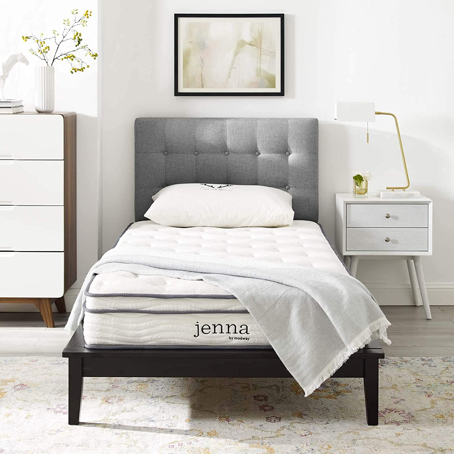 """Modway Jenna 8"""" Narrow Twin Innerspring Mattress - Top Quality Quilted Pillow Top - Individually Encased Pocket Coils - 10-Year Warranty"""