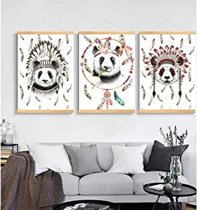 MSHDO Indian Style Decorative Paintings, Panda Pattern Wall Decoration Paintings.,Painting Decoration Pictures Set of 3 (12x16in for Kids Bedroom Nursery Wall Decor Gift (01, 12x16in)
