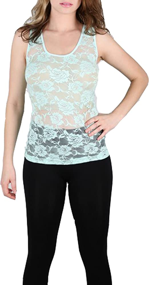 New Womens Shirt Blouse Lace Cami Tank Top Black S M L
