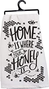 Primitives by Kathy LOL Made You Smile Dish Towel, 28 x 28-Inches, Honey is