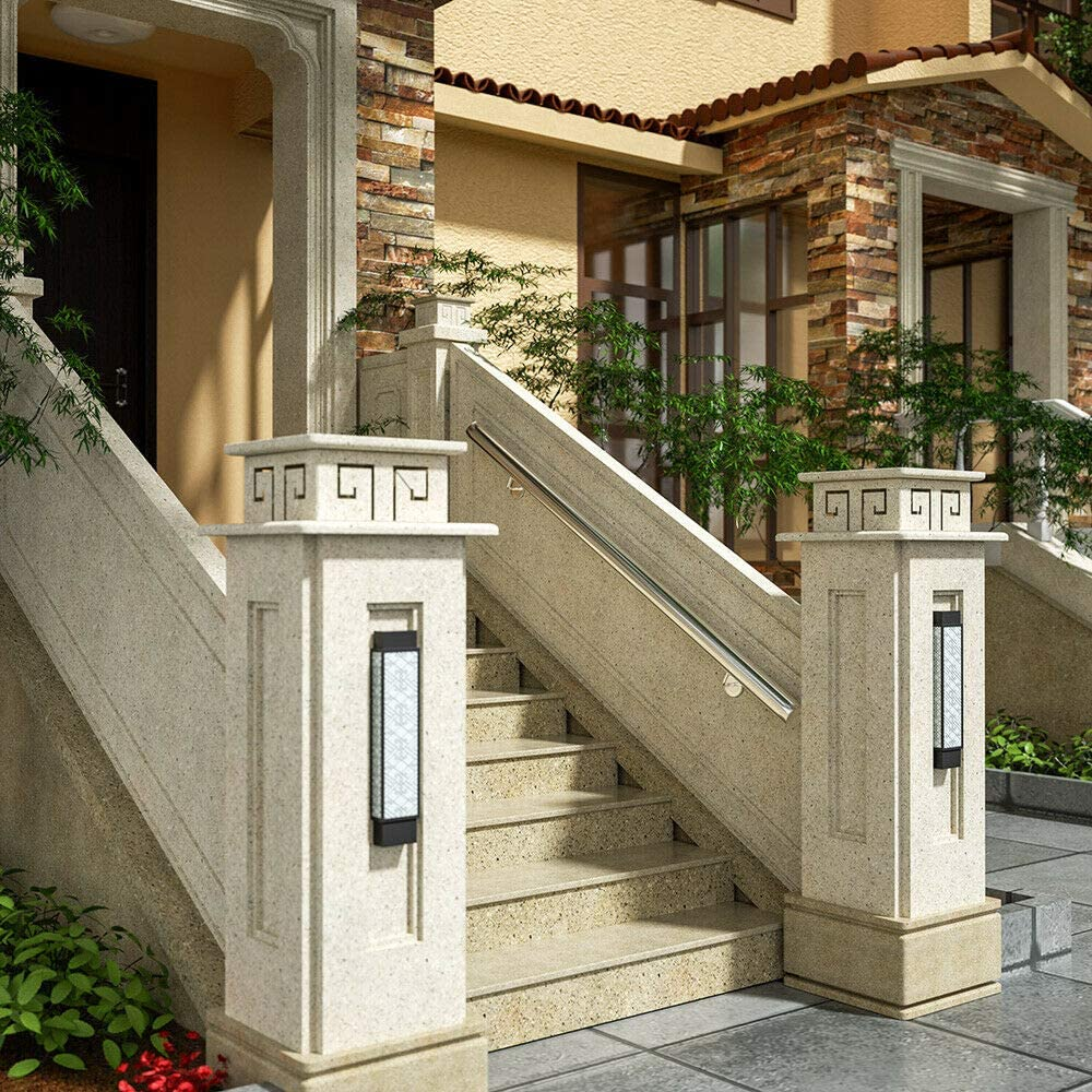 Monzana Pasamanos de acero inoxidable barandilla de pared para escalera 300 cm con soporte de pared resistente interior