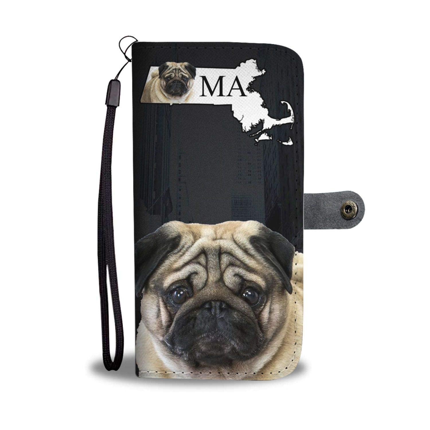 Pug Dog Printed Leather Wallet Case for Samsung, iPhone, LG, Goole Pixel, Huawei, HTC, Motorola, Xiaomi- Dog Printed Magnetic flip Cover with Card Slots ...