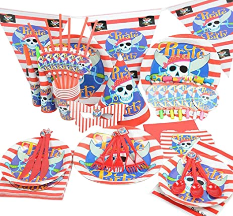 Halloween Dinnerware Outgeek 90 Pcs Disposable Pirate Paper Plates Forks Knives Napkins Straws Set  sc 1 st  Amazon.com & Amazon.com: Halloween Dinnerware Outgeek 90 Pcs Disposable Pirate ...