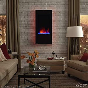 "Clevr 32"" Vertical Wall Mounted Fireplace Heater, with Adjustable LED Back Light Colors, Modern Black Electric Heat with Decorative Crystals, CSA and UL Certified, 1500W"