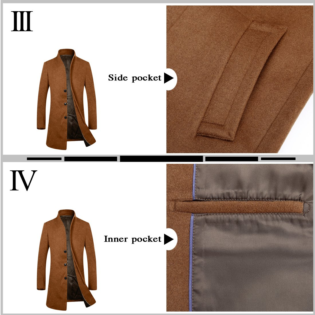 APTRO Men's Wool French Front Slim Fit Long Business Coat 1681 DZDY Camel S by APTRO (Image #3)