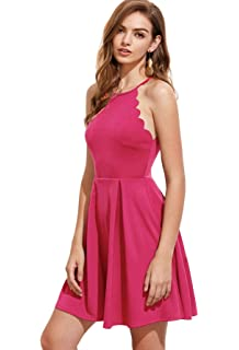 dc6778ccab Romwe Women s Sweet Scallop Sleeveless Flared Swing Pleated A-line Skater  Dress