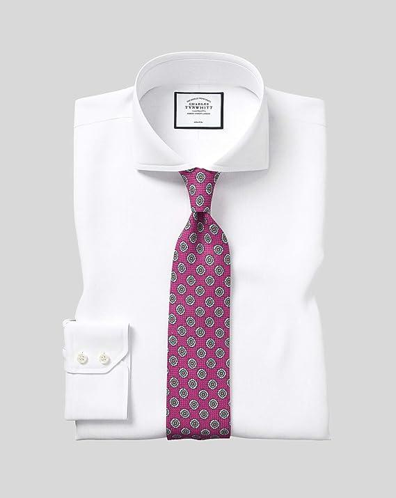 Camisa sin Plancha Blanca de Sarga Slim fit con Cuello Italiano Extremo: Amazon.es: Ropa y accesorios