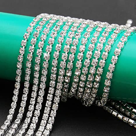 SS12//3.0MM Champagne-Silver Chain USIX 10 Yards Crystal Rhinestone Close Chain Trimming Claw Chain Multi Size Color Rhinestone Chain for DIY Arts Craft Sewing Jewelry Making