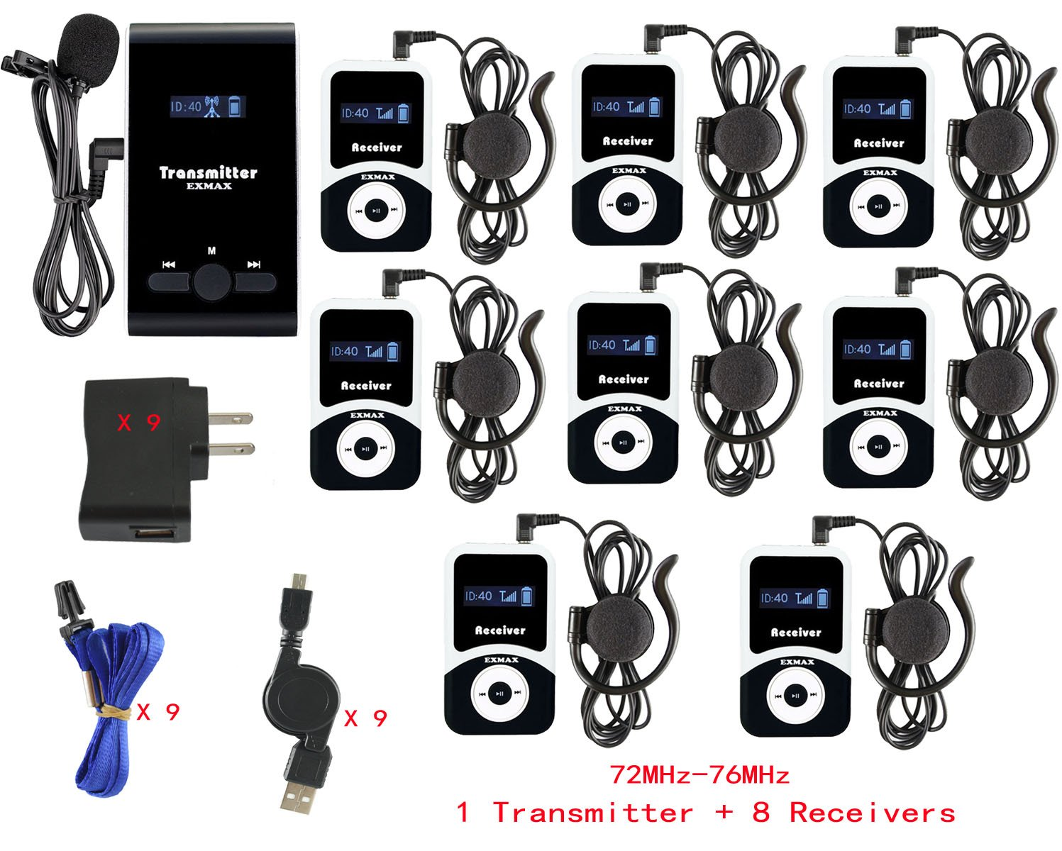 EXMAX ATG-100T 72-76MHz Wireless Tour Guide Monitoring System Microphone Earphone Headset for Church Simultaneous Interpreting Teaching Conference Travel Museum Translation(1 Transmitter 8 Receivers)