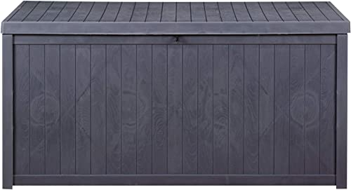 GDY 113 Gallon Patio Storage Deck Box Outdoor Storage Plastic Bench Box,Resin Wicker Storage Container Bench Seat Gray 113 Gallon