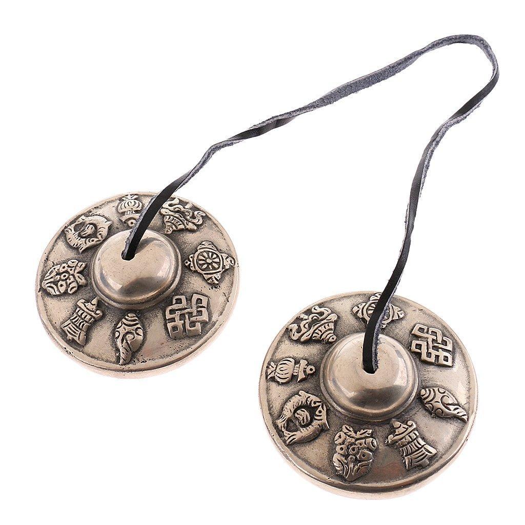 sgerste 1Paar Kupfer Becken buddhistischen tibetischen Stil Becken Traditionelle Chinesische Gong Handwerk Sammlerstücke Souvenir 6, 7cm 7cm