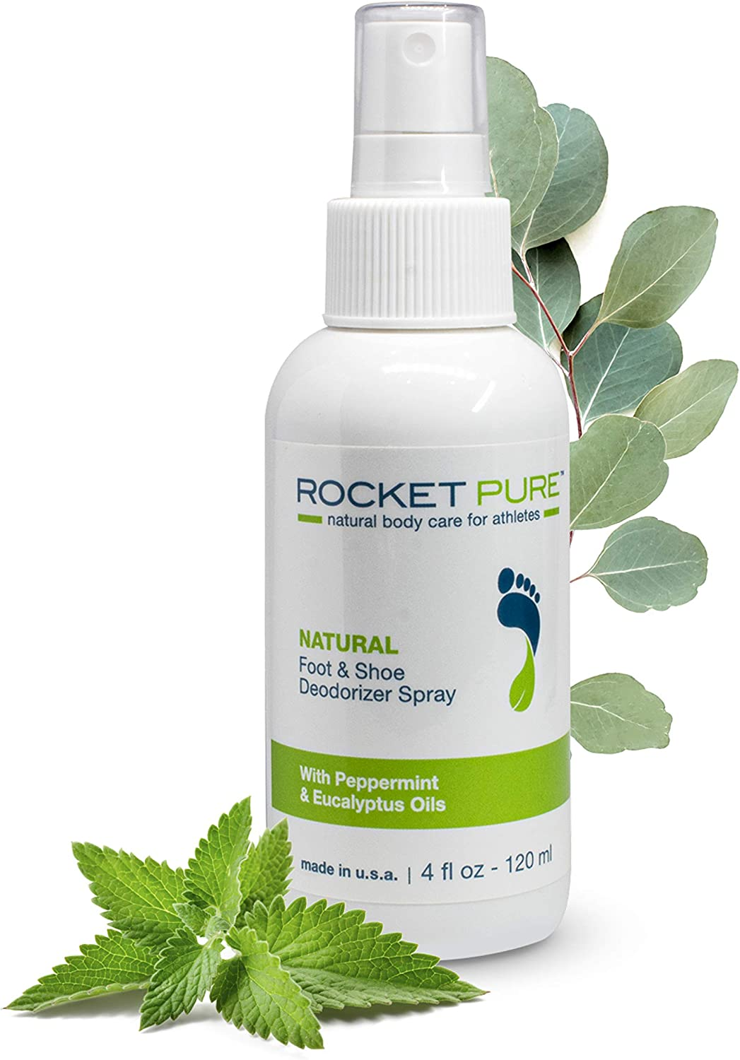 Natural Mint Shoe Deodorizer, Foot Deodorant Spray. Fights Odor, Stink Caused by Bacteria. Spray Freshens Better Than Messy Powders, Antiperspirants, Insoles, Sneaker Balls. Use on Feet or Shoes.: Sports & Outdoors