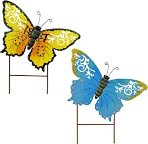 E-view Metal Butterfly Garden Stakes - Spring Decorative Yard Signs - Indoor Outdoor Plant Flower Stake Lawn Ornaments Butterfly Decoration (Yellow + Blue)